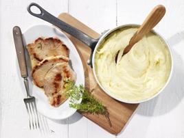 Purè di patate e Gruyère AOC con scaloppine di maiale