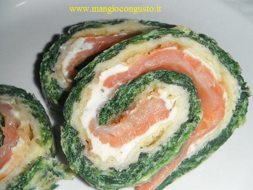 rotolo spinaci e salmone