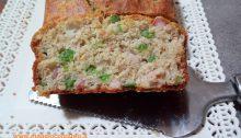plum cake alla pancetta e pisellini